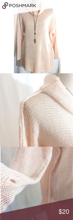 """Oversized Sweater/Tunic Made of 100% cotton, this is the perfect tunic/oversized sweater. Dropped shoulders, cowl neck & extended sleeve length with thumb inserts. Exposed arm and side seams as seen here. TUNIC MEASURES approx 29"""" long. Light peach in color. Size S/M. Never worn . Unlabeled. NWOT unlabeled Tops Tunics"""