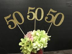 SET of THREE: 50 Birthday Centerpiece Anniversary Celebration Centerpieces 50 Years Class Reunion Class reunion Decoration 50th Birthday Centerpieces, 50th Anniversary Decorations, Birthday Table Decorations, 50 Anniversary, Class Reunion Decorations, Class Reunion Favors, Adult Birthday Party, Gold Birthday, Birthday Ideas