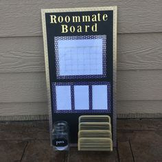 I was feeling crafty today! I made this roommate board with a calendar, space…