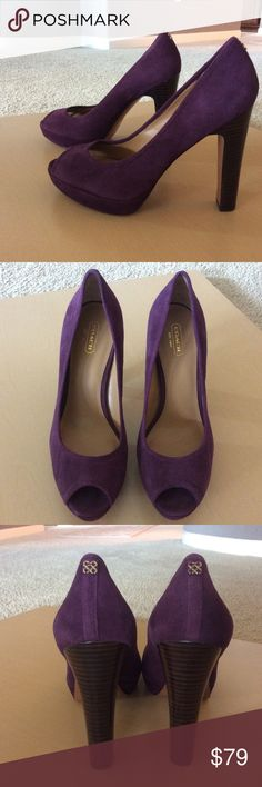 NWOB Purple Suede Peep Toe Pumps NWOB Purple suede peep toe platform pumps. Excellent condition. 4.5 inch heel. New without box but will be wrapped and shipped with care. Coach Shoes Platforms