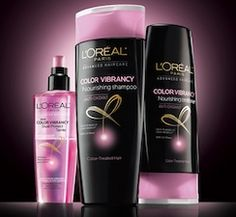 Free Sample L'Oreal Color Vibrancy Hair Care.  See more #freebies , #deals & #coupons at ourfrugalfamily.net