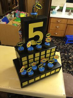 #batman cupcake display 5 years old for Preston's birthday
