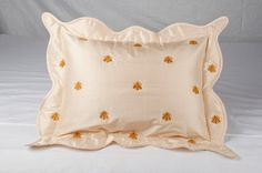 Bee Embroidered on Pure silk dupion scalloped by BHARATUSALTD