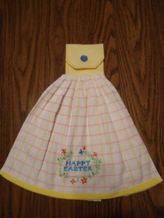 Happy Easter Kitchen Towel, Flowers, Easter, Springtime, Yellow Checkered Topper with Snap and Button Cover, by Marshaslilcraftpatch on Etsy