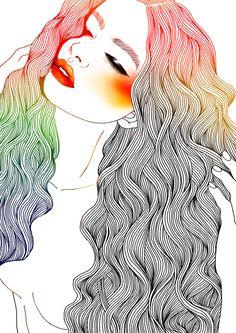 you make a girl wish she had illustrated hair, gosh darnit // hajin bae
