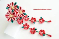 This Tsumami Kanzashi Fabric Flower Wedding Hair Comb with two flower dangling strands , handmade from Crimson Red, Cream White and Green