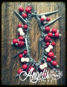 Red and White Howlite and Skull Charm Bracelet Red And White, Christmas Wreaths, Skull, Charmed, Holiday Decor, Bracelets, Stuff To Buy, Jewelry, Jewlery