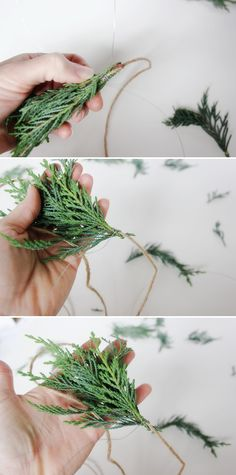 Continue to add sprigs of cedar to your jute twine, securing with hobby wire, until you have garland at your desired fullness | For The Home Depot blog