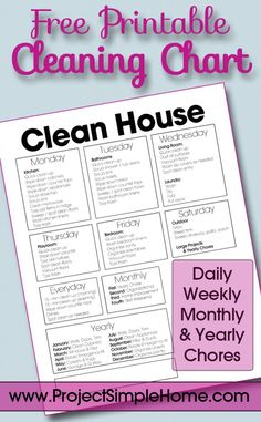 monthly chore list