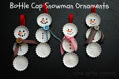 DIY Bottle Cap Snowmen diy christmas easy crafts christmas kids crafts diy christmas ideas craft christmas decor craft xmas tree decorations craft christmas ideas craft christmas food cute christmas craft ideas