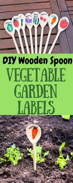 Get some wooden spoons fron the dollar store and make these vegetable garden lables!