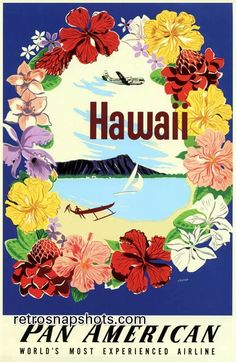 Pan American Airlines Posters | 1940s Pan American Airlines Hawaii Travel Poster