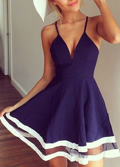 Spaghetti Strap Dress - Navy Blue