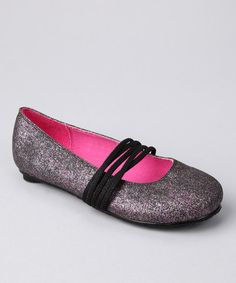 Take a look at this Sugar Shoes Black Glitter Applejack Flat by Blow-Out on #zulily today!#zulily #fall
