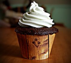faux wood cupcake wrapper