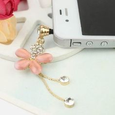 Pink Flower Charm Dust Plug / Earphone jack accessory / Ear Cap / Ear Jack For iPhone / iPad / iPod Touch / All device with 3.5mm jack  only $4.28 for this cute and useful butterfly charm plug.