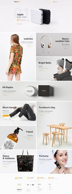 Touxt 5 in 1 multipurpose Ecommerce PSD Template is a uniquely eCommerce website template designed in Photoshop with a modern look. #onlinestore #psdtheme Download Now➝  http://themeforest.net/item/touxt-ecommerce-psd-template/15236617?ref=Datasata
