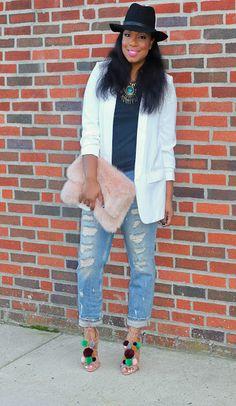 Style & Poise: How to Wear Pom Pom's in the Fall. Pom Pom sandals, ripped denim, boyfriend jeans, white blazer, faux fur clutch