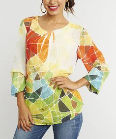 Look what I found on #zulily! Orange & Green Abstract Sublimation Scoop Neck Top by Miss Nikky #zulilyfinds