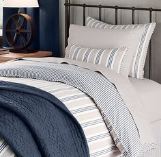 Vintage Ticking Stripe bedding from Restoration Hardware
