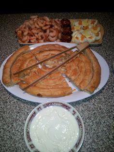 Mix favourite food (burek so kiselo mleko I skampi, domasna salama I jajca ) made by me