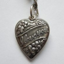 Sterling Silver Puffy Heart Charm - 'I love you'