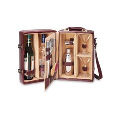 Picnic Time Manhattan Insulated Two-Bottle Cocktail Case/Bar Tool Kit, Mahogany