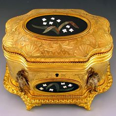 Antique French Signed Giroux Pietra Dura Gilt Bronze Ormolu Jewelry Casket Box from The Antique Boutique on Ruby Lane