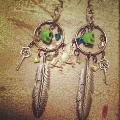 Artsy Day of the Dead Tribal Rhinestone Earrings by addiewuensch, $30.00