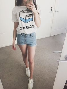 33 Cute Kawaii Clothes Suitable for Use in This Month Kawaii Fashion, Cute Fashion, Asian Fashion, Fashion Outfits, Fasion, Stylish Outfits, Outfits Kawaii, Kawaii Clothes, Kawaii Shirts
