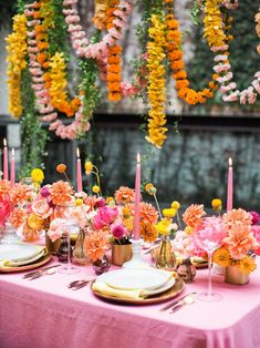 acacia wood charger with yellow and pink wedding tablescape