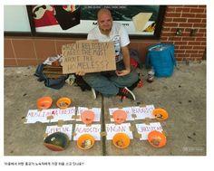 """발상의 전환이 성공을 부른다~~~ 도움을 받는데도 전략이 필요하다~~~ (Strategy for getting donnation!)  노숙자가 그저 동전통을 놓아두고 있는 경우와, 사진처럼 한 경우,결과는 엄청 달라지게됩니다.  이 현명한 인사는 종교 이름을 죽 늘어놓고는, """"어느 종교가 노숙자에게 제일 마음을 쓰고있나요""""라는 글판을 들고 있습니다.  당연히 기부액은 급증하겠지요. 비즈니스를 하든,공익사업을 하든 이런 착안이  미래를 바꾸어줄 것 같습니다."""