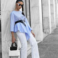 White and Sky @evelina_fra #fashionblogger #tote #bag #janisleenewyork #madeinnyc #minimal #modern #design #streetstyle #designer #handbag #handmade #fashion #style #blogger