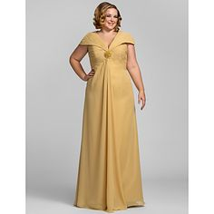Plus Size V-neck Off-the-shoulder Chiffon Evening/Prom Dress  – USD $ 109.99