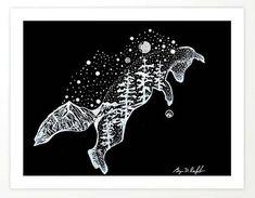 'BOUNCE' Playful Fox Original Art, Double Exposure Artwork, Stars & Mountains Wall Decor Framed Art Print by darkmountainarts Mountain Drawing, Mountain Art, Fox Art, Outdoor Art, Handmade Art, Art For Sale, Things That Bounce, Original Artwork, Art Drawings