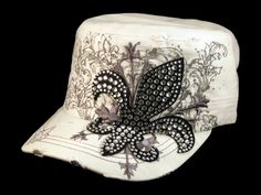 8ce3f1c17ba This is a High Quality White Cadet Castro Cap with Black Jeweled  Fleur-de-lis! It s a Distressed Visor Military Style Army Hat