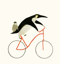 Bicycles and penguins go hand and hand in this illustration by Ines Sanchez Nadal. Penguin Art, Penguin Love, Cute Penguins, Penguin Parade, Pinguin Illustration, Illustration Art, Bicycle Illustration, Bicycle Art, Bicycle Store