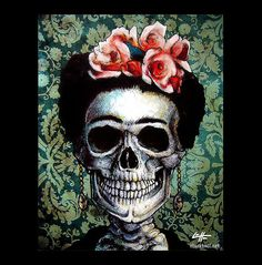 Print Frida Kahlo Artist Women Mexican by chuckhodi Women Skeleton, Skeleton Art, Frida Art, Sugar Skull Art, Sugar Skulls, Skull Artwork, Mirror Painting, Skulls And Roses, Pastel Drawing