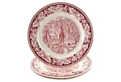 Cranberry Homer Laughlin Plates, S/3