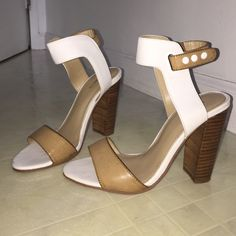 Nude strappy heels Worn only one time! Excellent condition. Also comes with a dust bag that is not pictured  Express Shoes Heels