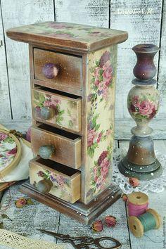 Купить Розовый сад.Мини-комод и подсвечник. - розовый, мини комод, мини комодик, розы