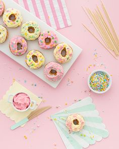 Donut Cake Topper for Bridal Shower or Bachelorette Party - Bridal Shower Inspo - Bachelorette Party Desserts - Wedding Dessert Ideas Oh Happy Day Bachelorette Party Desserts, Wedding Desserts, Party Food Buffet, Foto Still, Recipe For Teens, Pastel Party, Mini Donuts, Doughnut, Donut Party
