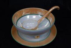VTG Morimura Noritake N4144 Orange Band Lusterware Condiment Bowl, Plate & Ladle