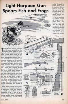 Light Harpoon Gun Spears Fish and Frogs - Science And Mechanics (Jun, Camping Survival, Outdoor Survival, Survival Tips, Survival Skills, Wilderness Survival, Survival Weapons, Outdoor Gear, Diy Crossbow, Crossbow Arrows