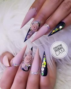 Hottest Trends for Acrylic Nail Shapes Glam Nails, Bling Nails, Stiletto Nails, 3d Flower Nails, Rose Nails, Almond Acrylic Nails, Best Acrylic Nails, Acrylic Nail Shapes, Acrylic Nail Designs