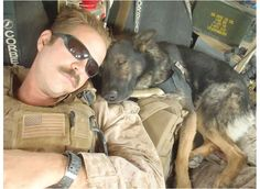 """Let Sleeping Dogs Lie: A US Marine handler and his partner """"Eli"""" schnooze together. Hey, I ain't gonna wake'm! Military Working Dogs, Military Dogs, Police Dogs, I Love Dogs, Cute Dogs, Mans Best Friend, Best Friends, My Champion, War Dogs"""
