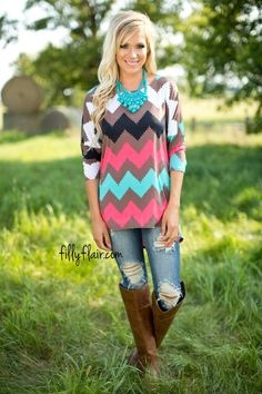 This chevron top is perfect for fall!