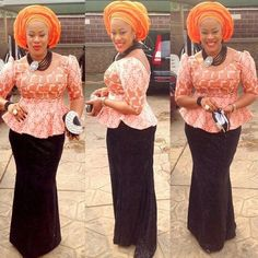 Online Hub For Fashion Beauty And Health: Lovely Lace Asoebi Skirt And Blouse For Pretty Mom...
