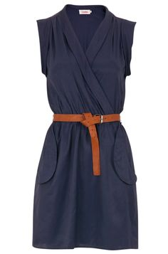 navy wrap dress with pockets