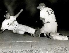 Davalillo deslizándose en tercera base jugando con los Leones del Caracas. | Créditos: Archivo Cadena Capriles